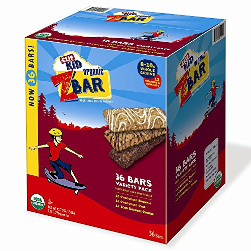 CLIF Kid Organic ZBar Whole Grain Energy Snack, Variety Pack (1.27 oz., 36 ct.) by CLIF