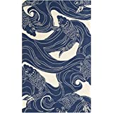 2u0027 x 3u0027 lively pond navy blue and beige hand loomed area throw rug