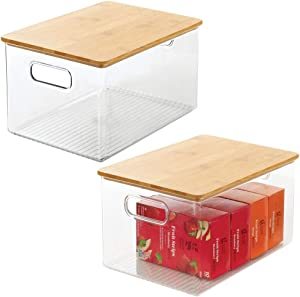 mDesign Plastic Stackable Kitchen Pantry Cabinet, Food Storage Bin Box with Handles, Lid - Organizer for Packets, Jars, Snacks, Pasta - 2 Pack - Clear/Bamboo Lid