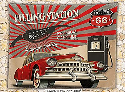Cars Decor Fleece Throw Blanket Poster Style Image of Gasoline Station Commercial with Kitschy Elements Route 66 Theme Graphic Throw