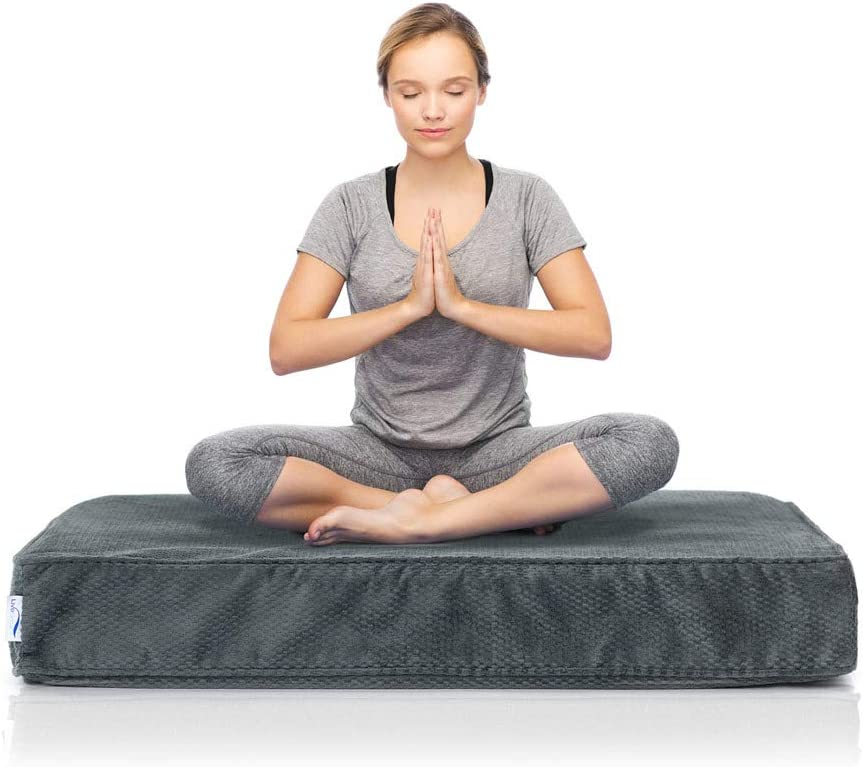 eLuxurySupply Square Meditation Cushion - Plush Foam Seat for Kids or Adults - Floor Reading, Meditation, Sitting or Yoga - 2 Sizes, 3 Colors ...