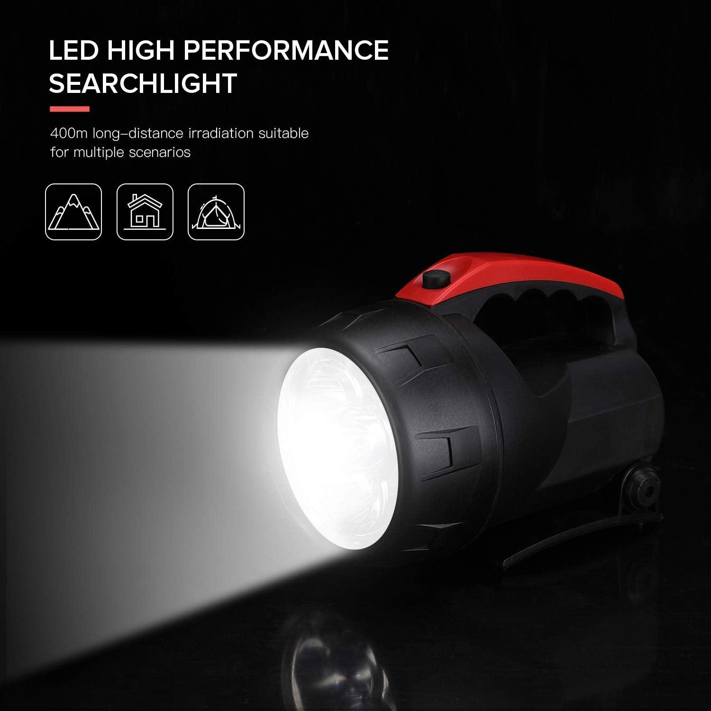 Outdoor Spot Lights Hand-Held Flashlight, 600 Lumens Light Bright Long Distance LED Spotlight Searchlight, 6 Volt Lantern Battery Powered Lights ,5W (Black) - -