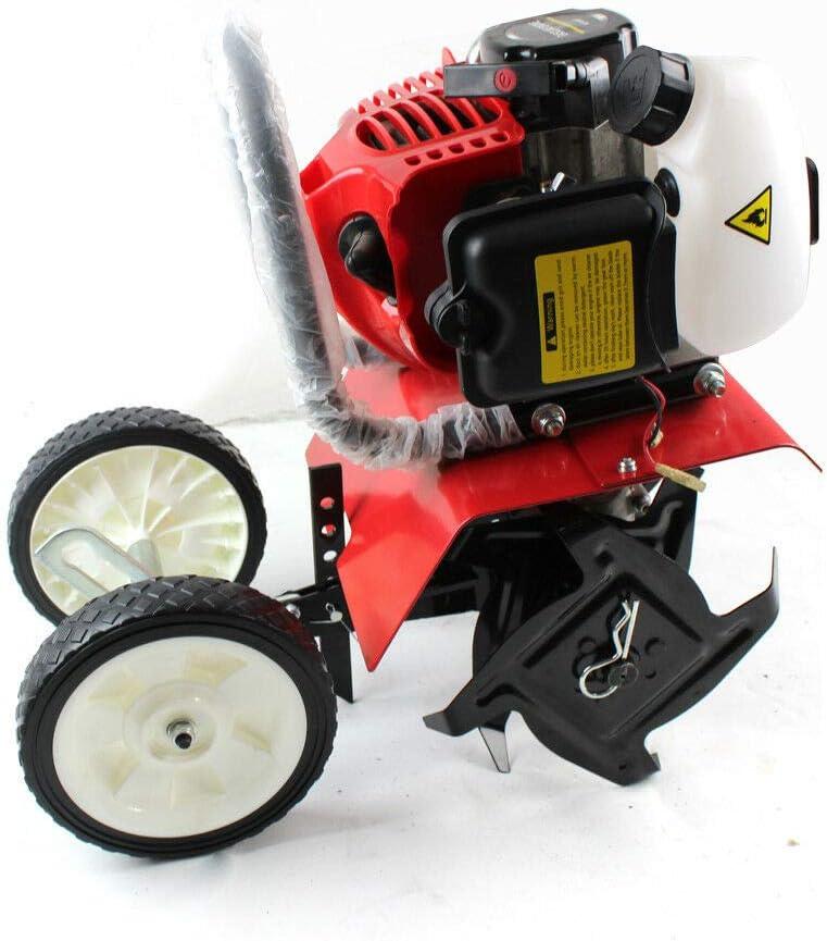 Yunrux - Azada de suelo a gasolina de 52 cc, 2 CV, motoazada de gasolina, cultivador de 2 tiempos, motocultor de tierra, motocultor C.D.I, azada de jardín, 1,5 kW, color rojo
