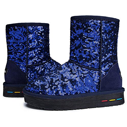 Blue Eastlion Winter Warm Boots Snow Shoes Boots Lined Wearable Sequins Short Fleece Women's Outdoor Keep Rq6wRrA