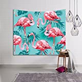 HYSENM Flamingo Tapestry Tropical Plant Floral Wall Hanging Bedspread Home Décor for Boys Girls Kids Bedroom Living Room, Flamingo H 80x60 Inches