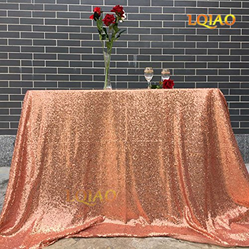- LQIAO Customize- 2pcs 90x156inch Rose Gold Sequin Tablecloth and 24 Yards Rose Gold Sequin Fabric