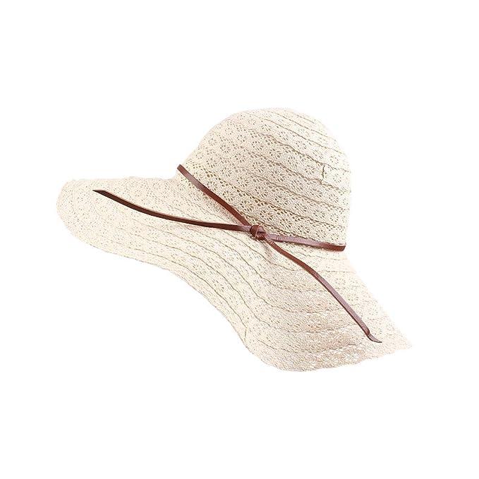 d9ceece1 Summer Women Beach Sun Hat Floppy Wide Brim Travel Hat Foldable UV Protect  Cotton Hat (