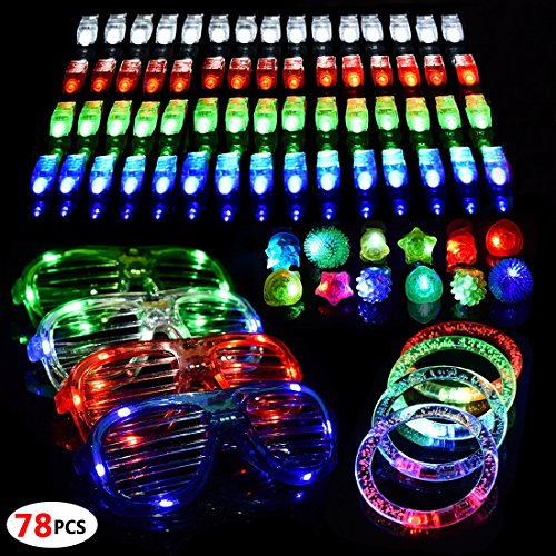 Wholesale Shades Shutter (78 PCS/Set LED Party Favor Light Up Glow Toys for Kids, Party Supplies, with 60 LED Finger Light, 10 Rings, 4 Glasses and 4 Bracelets)