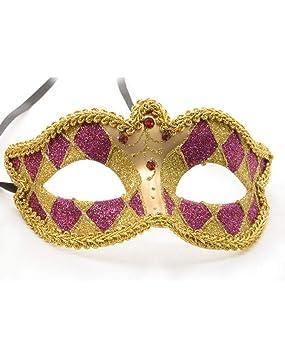 Horror-Shop Máscara veneciana del Harlequin del oro/púrpura