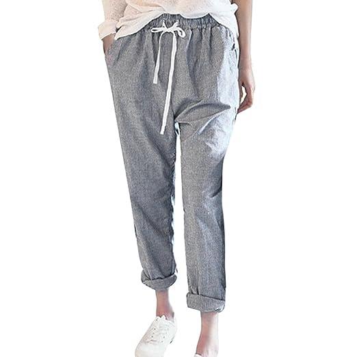 e9814ae8b5ba iYBUIA Women Linen Loose Fashion Striped High Waist Casual Loose Long Trousers  Harem Pants at Amazon Women s Clothing store