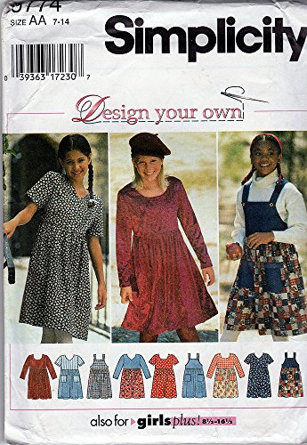 - UNCUT & OOP SIMPLICITY 9774 GIRLS' / PLUS DRESSES & JUMPER SEWING PATTERN SIZE: AA (7 8 10)