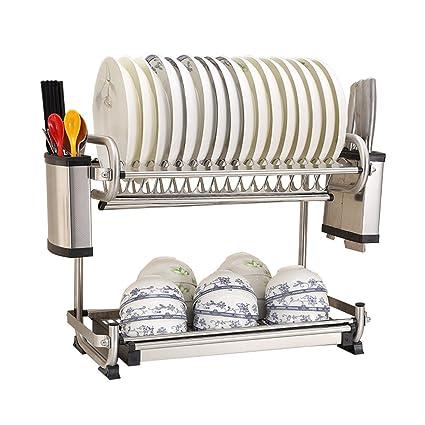 Estante para Platos De Cocina De 2 Capas/Estante para Desagüe/Estante para Almacenamiento