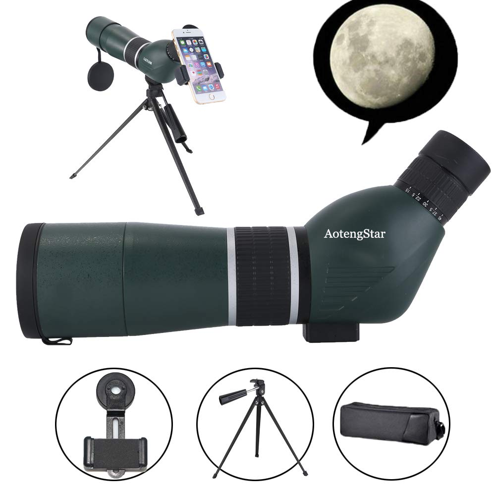 Spotting Scope 15-45X60 HD Waterproof Birdwatching Monocular Telescope for Stargazing Archery Wildlife Scenery BAK4 45-Degree Angled Eyepiece Scope,Optics Zoom 43-21m/1000m withTripod&Phone Mount