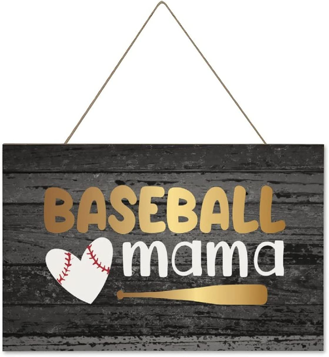 by Unbranded Wooden Wall Decor Farmhouse Funny Bathroom Sign Country Restroom Wall Decor for Home School Office Sign Wooden Letters Baseball Mama, Baseball Mom, Baseball Ball 10x16 Inch