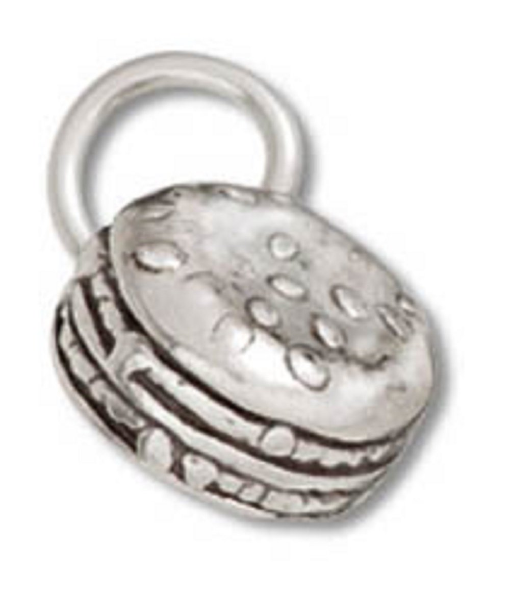 Sterling Silver 24'' Boys 1.2mm Box Chain 3D Cheeseburger Hamburger Pendant Necklace