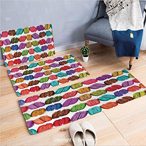 3 Piece Indoor Modern Anti-Skid Carpet Printed Block Bathroom Carpet,Colorful Home Decor,French Macarons in a Row Coffee Shop Cookies Flavours Pastry Bakery Design,Multi,20x31/20x59/28x55 inch
