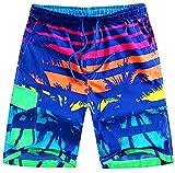 Wishwhat Men's Plus Size Coconut Palm Fashion Summer Swim Trunks Mens Swimwear (4XL)