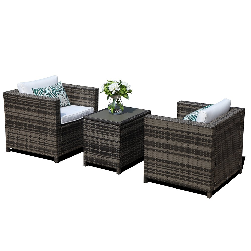 Super Patio 3 Piece Patio Furniture with Storage Table,3 Piece All-Weather Grey Wicker Furniture Sectional Sofa Set Storage Coffee Table,White Cushions