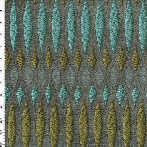 Aqua/Teal/Multi Chenille Stained Glass Trellis Decor Fabric, Fabric by The -