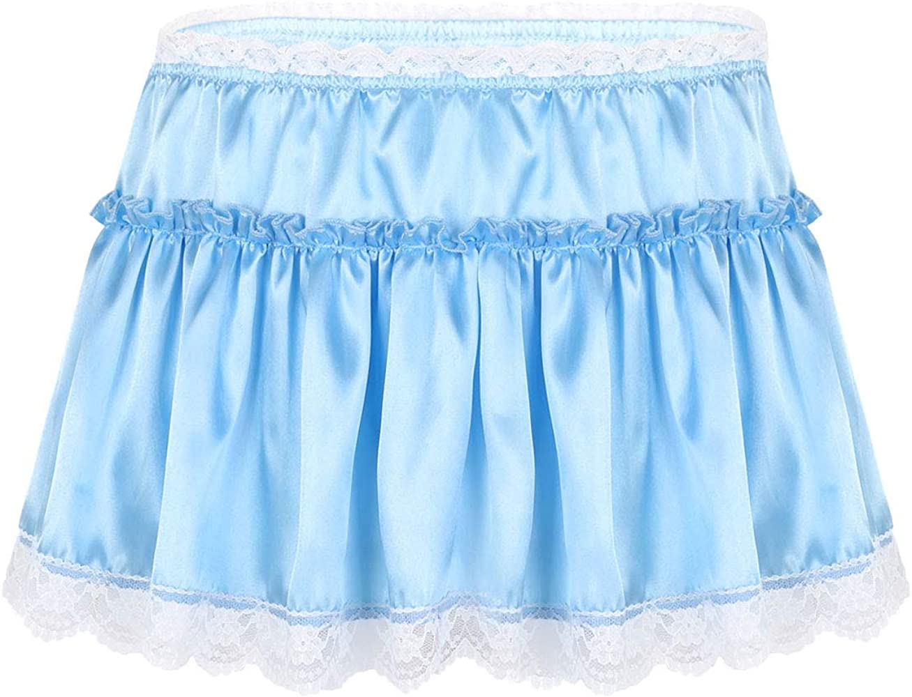 T-blue Shiny Stretchy Satin Sissy Bikinis panties Mini Skirted Waist S//M