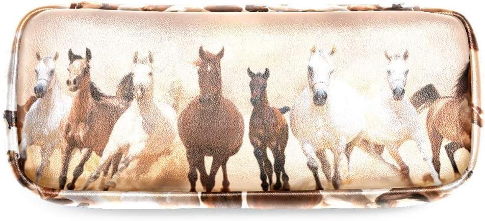 astuccio per trucchi e cancelleria TIZORAX per scuola e ufficio Astuccio portapenne con cavalli che corrono sulla sabbia