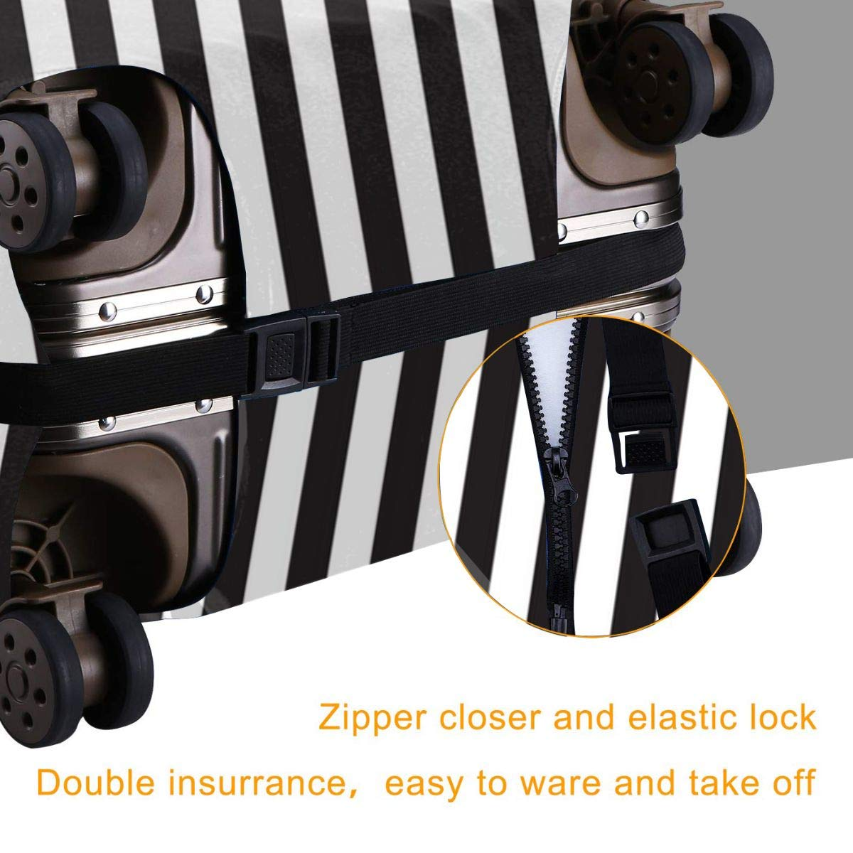 Black /& White Stripe Design Travel Suitcase Protector Anti-scratch Washable Dust Thicken Elasticity Cover Travel Luggage Cover
