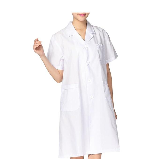 Sasairy Mujer Bata Médico de Spandex de Manga Corta Bata Blanca Bata de Laboratorio Enfermera para Médicos Enfermera Dentista Científico, Tamaño S-2XL: ...