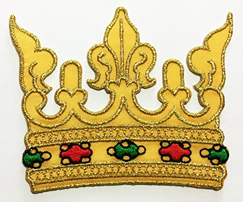 Gold lace Crown DIY Embroidered Sew Iron on Patch p#47