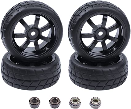 4Pcs 1:10 RC Tires and Wheels Rim 12mm Hex Kit For HPI HSP On Road Racing Car