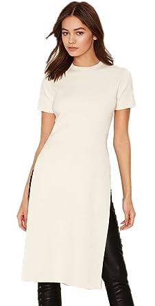 11d7d8eb87c1 Sexy Long Longline Haute Côtés Fendue Fentes Fendu Manches Courtes T-Shirt  Tee Haut Top