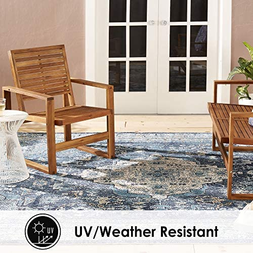 Home Dynamix Nicole Miller Patio Starlight Willow Indoor Outdoor Area Rug 7 9 x10 2 , Traditional Medallion Navy Blue Tan
