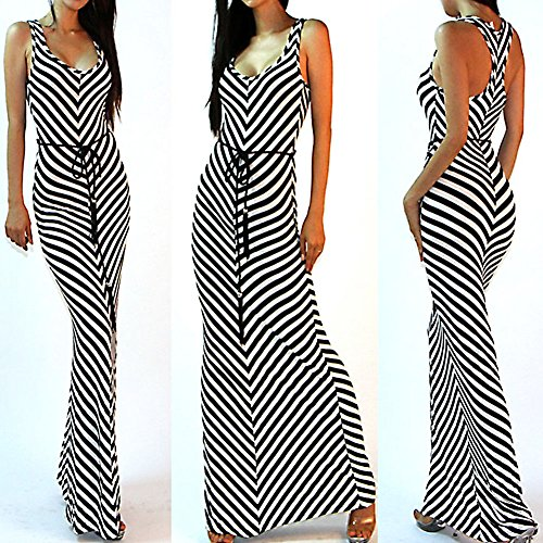 Stripe Kaftan (Diamondo Sexy Women Boho Stripe V-Neck H-Back Waisted Belted Party Maxi Dress (Asian M))