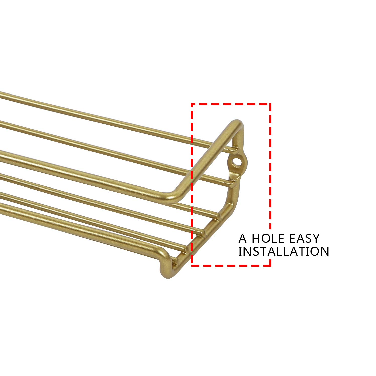 Hanging Racks for Cabinet or Pantry Door Under Cabinet Metal Champagne Gold Color Asense 4 Pack Wall Mount Hanging Single Tier Spice Racks Organizers
