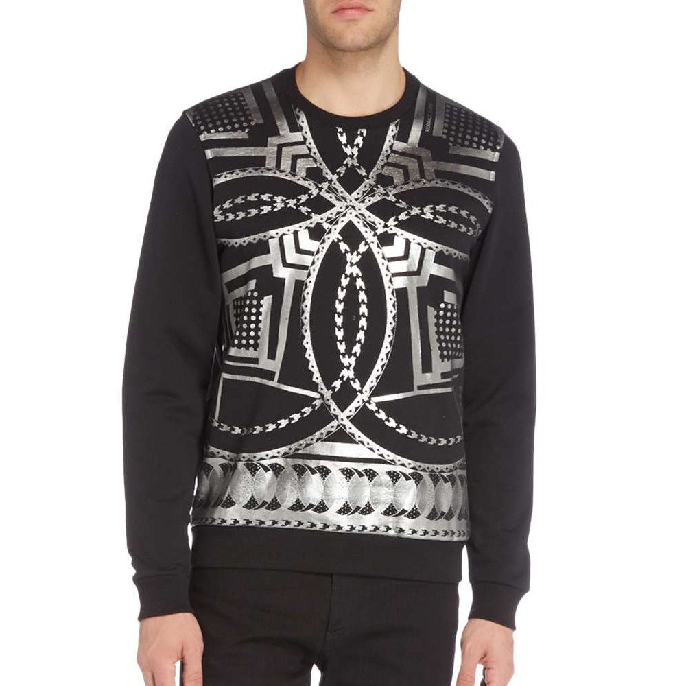 Versace Jeans All Over Silver Print Sweatshirt $218-Now $148 Black /& Silver