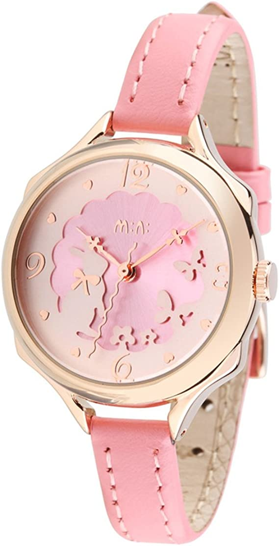 3D Bowknot Rabbit Butterfly Girl's Women's Wrist Watches for Students Genuine Leather Strap