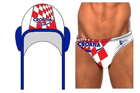 a3cc2991c6e1 BBOSI Costume da bagno cuffia pallanuoto Croazia slip piscine uomo e  bambini pallanuoto nuoto
