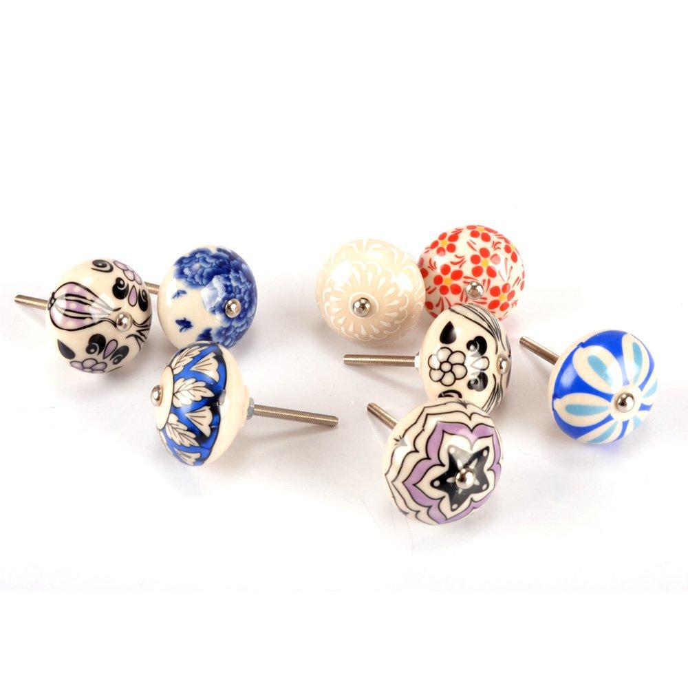 MyArmor Set of 8 Hand Painted Ceramic Decorative Knobs Handles Pulls for Furniture Door Cabinets Drawer Cupboard Kitchen Bathroom