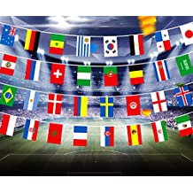 WIFORNT International Flag, 2018 FIFA World Cup Russia Soccer Top 32 String Flag Banners for Bar Party Decorations, Sports Clubs, Grand Opening, Festival Events Celebration (36 Feet/812 Inch)