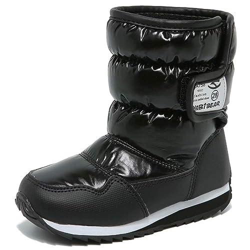 Botas de Nieve Niño Calentar Forrada de Piel Botas de Invierno para Niñas Botas de Esqui Impermeables Slouch Botines Niño Zapatos Comodidad Negros Púrpura ...
