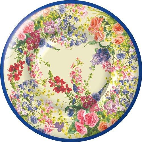 Bridal Bouquet Cup - Ideal Home Range 8 Count Boston International Round Paper Dessert Plates, Bouquet of Flowers