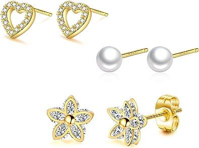 Set of 2 Pairs 925 Sterling Silver Kids Girls Lot Stud Earrings Nickel Free