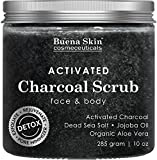 Activated Charcoal Scrub by Buena Skin | Deep Cleanser, Pore Minimizer & Reduces Wrinkles, Blackheads, Acne Scars, & Anti Cellulite Treatment - Great for Face & Body 10 oz.