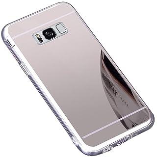 Surakey Cover Compatibile con Samsung Galaxy S8, Effetto Specchio Custodia in Silicone Brillante Colore di Placcatura Mirror Case Antiurto TPU Bumper Ultra Sottile e Leggero Protettiva Cover,Oro