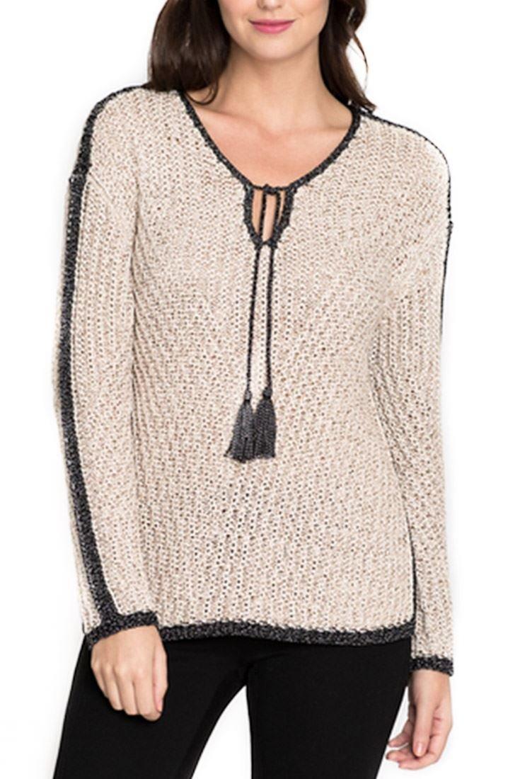 Nic+Zoe Women's Sweater Diamond Beach Knit Top - Sandshell Mix - L