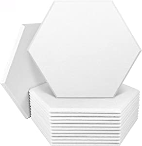 DEKIRU 12 Pack Acoustic Panels Sound Proof Padding, 14 X 13 X 0.4 Inches Sound Dampening Panels Used in Home & Offices(Hexagon,White)