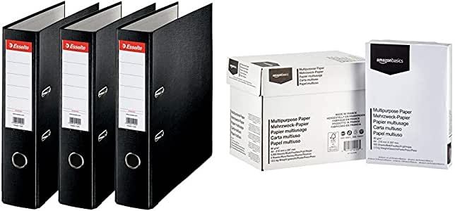 Esselte 624294 - Archivador con anillas (Capacidad 550 hojas, 3 unidades), negro, 75 mm & AmazonBasics Papel multiusos para impresora A4 80gsm, 5x500 hojas, blanco: Amazon.es: Oficina y papelería