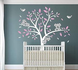 LUCKKYY Three Cute Koalas Tree Branches Wall Decal Wall Sticke Wall Decal Vinyl Wall Sticker Baby Nursery Decor Kids Room Decoration (Pink)