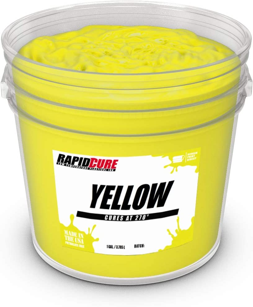 Quart Rapid Cure Yellow Plastisol Ink for Screen Printing Low Temperature Fast Curing Ink by Screen Print Direct