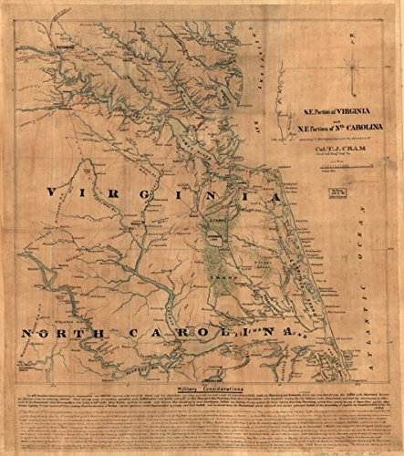 Map: 1860 S.E. portion of Virginia and N.E. portion of N'th Carolina Military considerations|Albemarle Sound Region|Albemarle Sound Region NC|Civil War|History|North Carolina|Tidewater Region|Tidewate (Map Of The Tidewater Region Of Virginia)