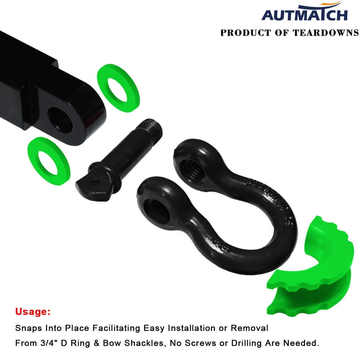 AUTMATCH Pack of 2 D-Ring Shackle Isolators Washers Kit 2 Rubber Shackle Isolators and 8 Washers Fits 3//4 Inch Shackle Gear Design Rattling Protection Shackle Cover Red